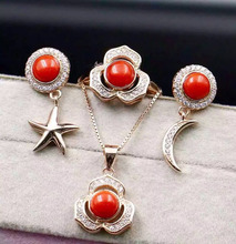 Natural red coral gem jewelry sets natural gemstone ring Earrings Pendant 925 silver party Star Moon women wedding party jewelry