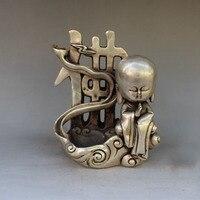 Crafts statue Seiko brass feng shui ornaments white bronze Maitreya Buddha monk incense burner