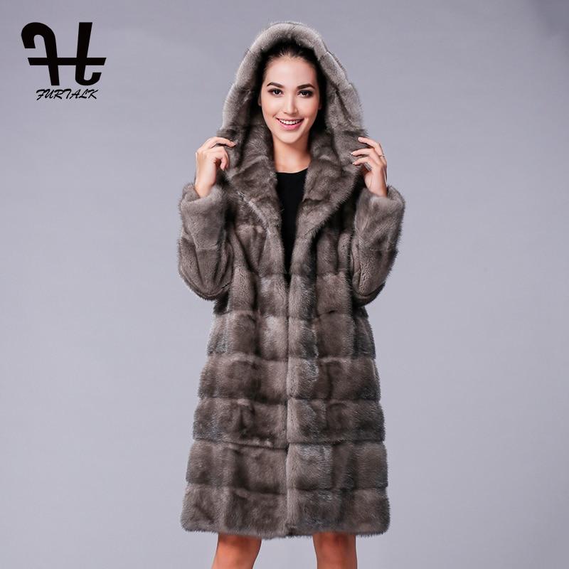 FURTALK New Fashion Long Hooded 100% Real Mink Fur Coat Women Winter Natural Mink Fur Jacket Luxury Imported Mink Fur Design