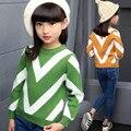 Meninas novas Blusas V Listrado Pullover Crochet Camisola de Malha Crianças Manga Longa Outono/Inverno Camisolas Adolescente Menina Roupas de Lã