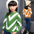 New Girls Sweaters V Striped Pullover Crochet Sweater Kids Knitted Long Sleeve Autumn/Winter Sweaters Teenage Girl Wool Clothing
