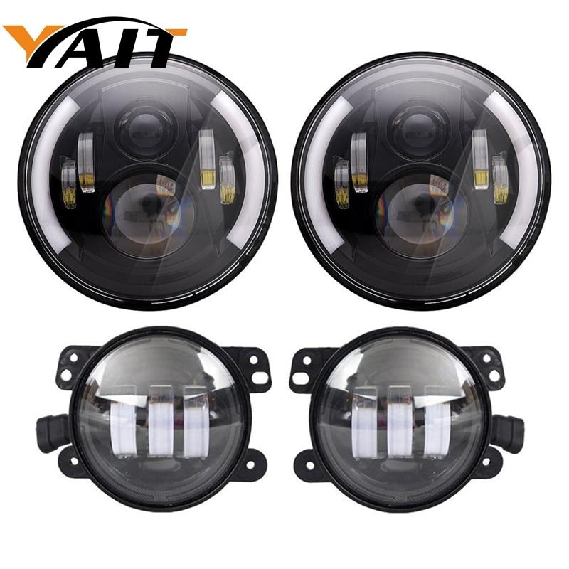 Yait 7inch Daymaker LED Headlights with White DRL/Amber Turn Signal + 4 inch LED Fog Lights for Jeep Wrangler 97-2017 JK LJ Tj