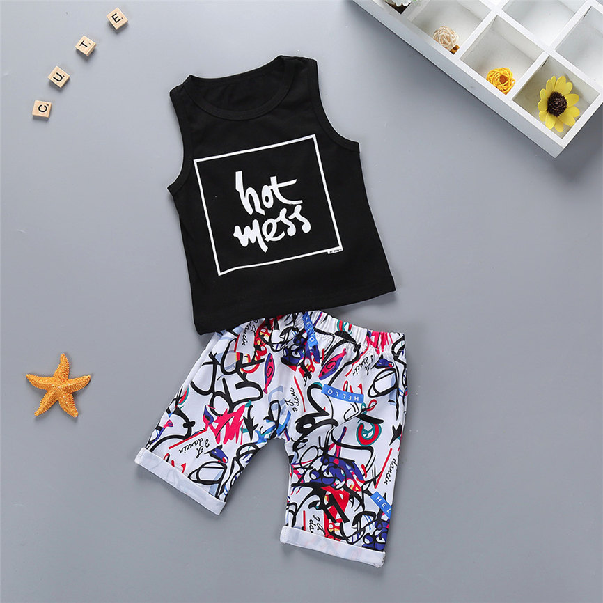 Fashion 2018 Newborn Baby Boy Summer Letter Tops Vest+Print Pants Shorts Outfits Clothes Sets Sports Suit For Girls Dropshipping