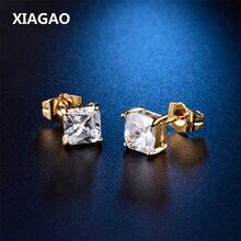 XIAGAO Unique Princess cut Yellow Gold color Small Earing CZ Zircon White Crystal Zircon Stud Earring