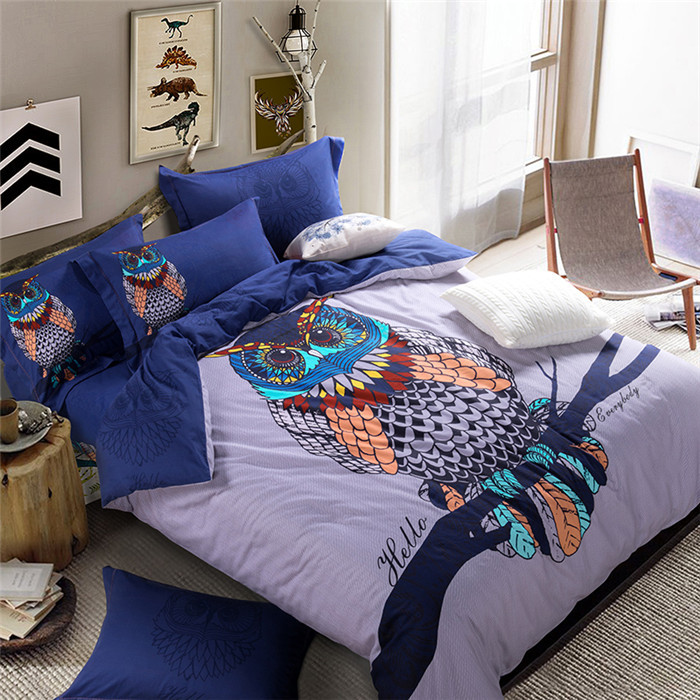 Fashion Owl Bedding Sets King Size 100 Cotton 4pc Sanding Bed Sets Queen