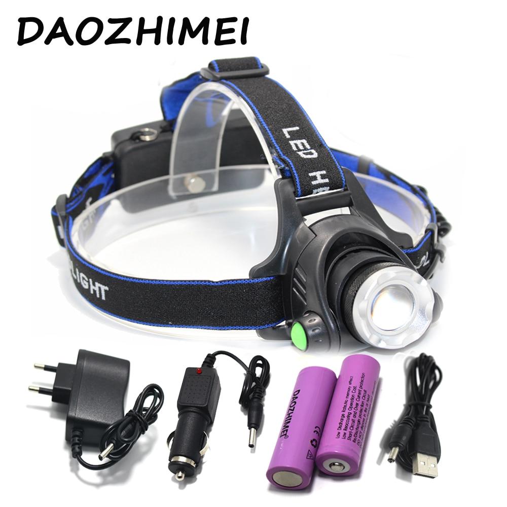 5000LM LED taschenlampe XM-L T6 Scheinwerfer 18650 taschenlampe kopf licht lampe + 2x5000 mAh 18650 Batterie + auto ladegerät + EU/US ladegerät