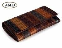 JMD Tanned Genuine Cow Leather Women Wallets 3 Folded In Fringe Pattern Billfolds 8093 1C