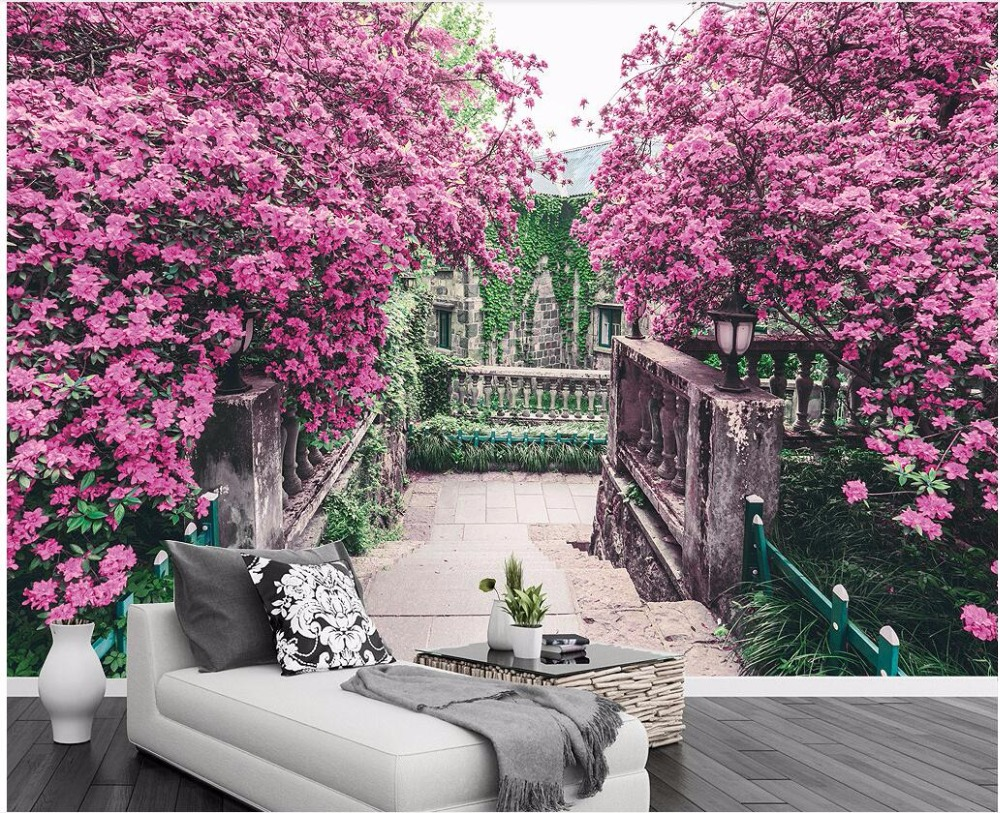Custom photo 3d wallpaper Pink flower tree garden TV background wall room Home decor 3d wall murals wallpaper for wall 3 d shinehome classical rose music embossed photo wall paper room wallpaper 3d for livingroom 3 d wall roll background murals rolls