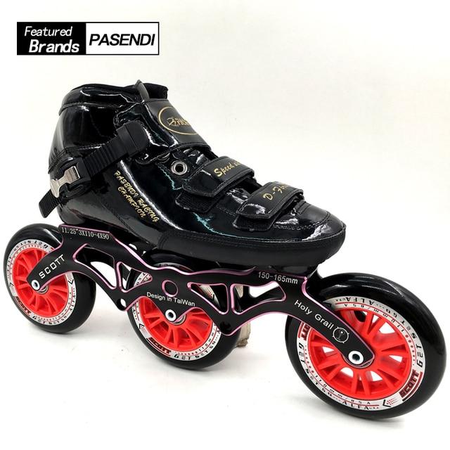 Profesional 3 ruedas mujeres hombres velocidad patines en línea patinaje  3x110 y 4x90 marco 4 fa2493890cd