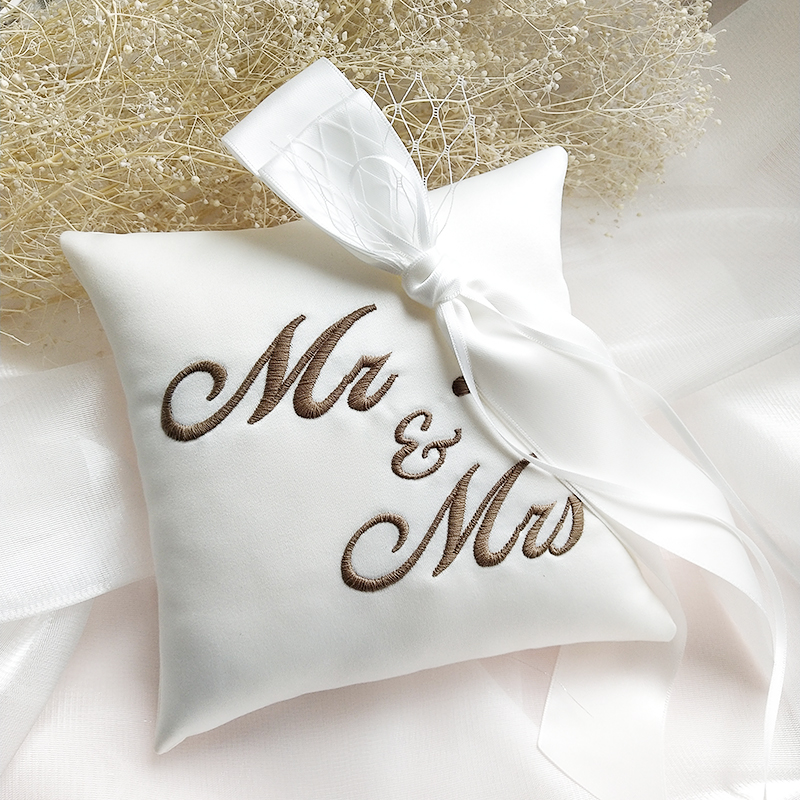 PERSONALISED wedding ring cushion//pillow ring box tulle GOLD or SILVER 20x20cm
