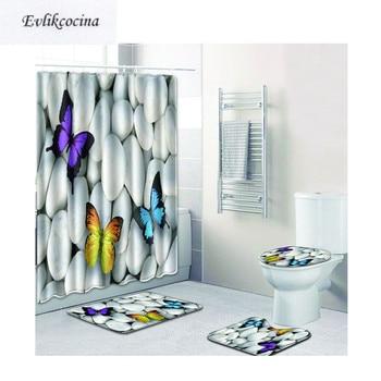 Free Shipping 4pcs White Stones Butterflies Banyo Paspas Bathroom Carpet Toilet Bath Mat Set Tapis Salle De Bain Alfombra Bano Туалет