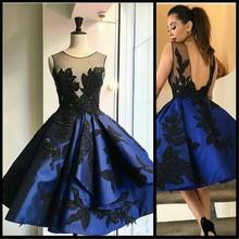 Neue Art Und Weise Royal Blau Appliques Schwarz Spitze Kurze Heimkehr Kleider 2016 Sexy Durchsichtig Backless Kurze Cocktail-abschlussball-kleider