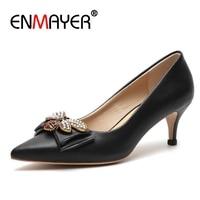 ENMAYER Women Pumps High Heels Shoes Woman Summer Pointed Toe Slip on Plus Size 33 40 Rhinestone Butterfly Thin heels CR724