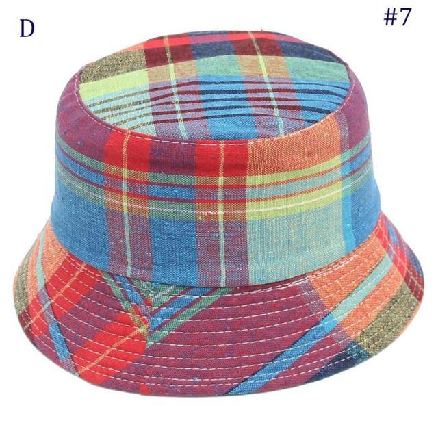 836ce5fd 2018 hot sale Toddler Baby hat Kids Boys Girls Plaid Pattern Bucket Hats Sun  Helmet Cap