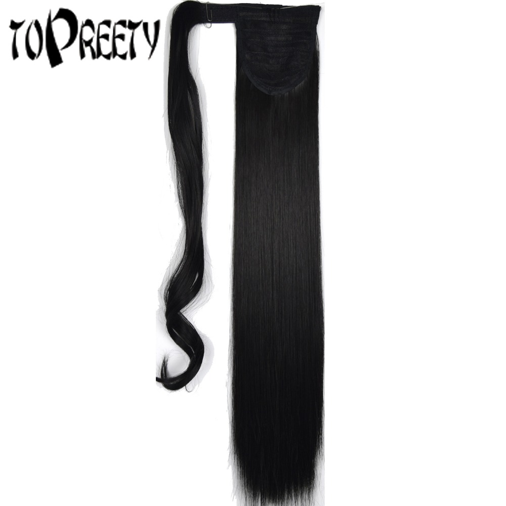 TOPREETY Heat Resistant B5 Synthetic 22 55cm 90g Straight Wrap Around Clip in Ponytail Extensions ...