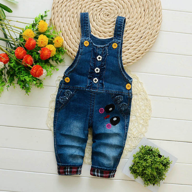 baby pants denim infant overalls 2017 autumn litter children bib pants kids boys girls trousers for toddler cartoon longs jeans