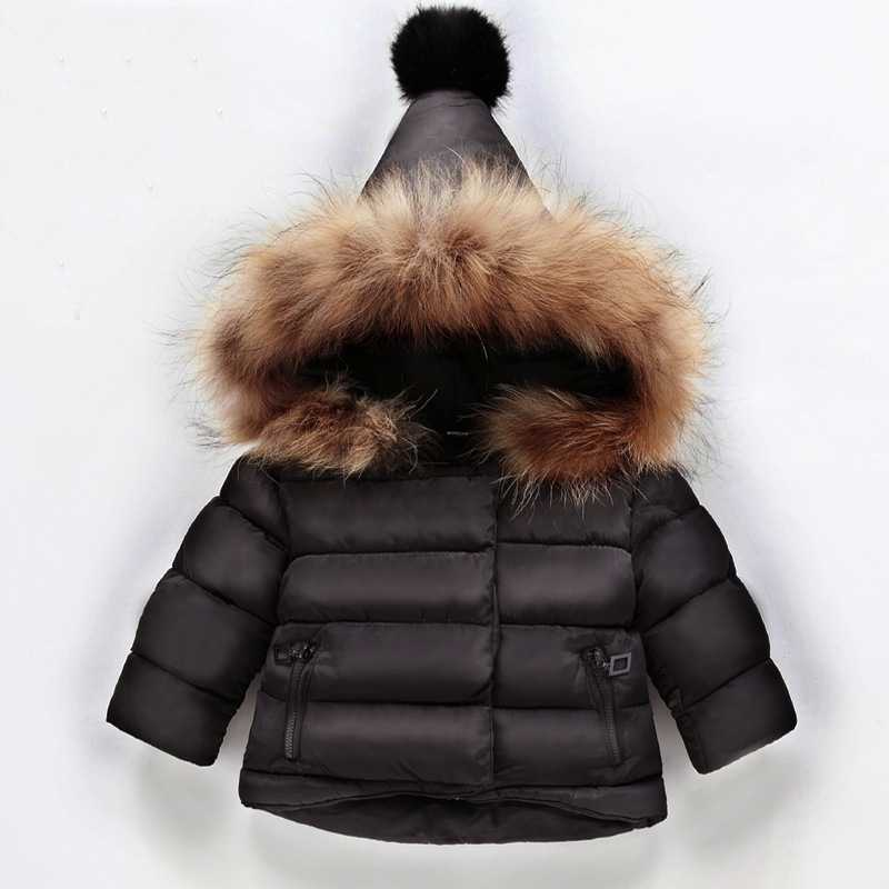 Winter Girls Down Jacket Parka For Girls Boys Coats Cotton Real Fur Hooded Children's Clothing For Snow Wear Kids Outerwear Warm