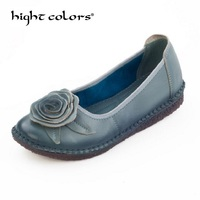 2018 Spring Handmade Women S Shoes Genuine Leather Flats Flower Casual Shoes Woman Loafers Fashion Slip