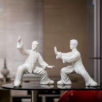Керамические китайский кунг фу статуя Творческий спортивных людей фигурка домашнего декора ремесел украшения комнаты орнамент фарфоровые