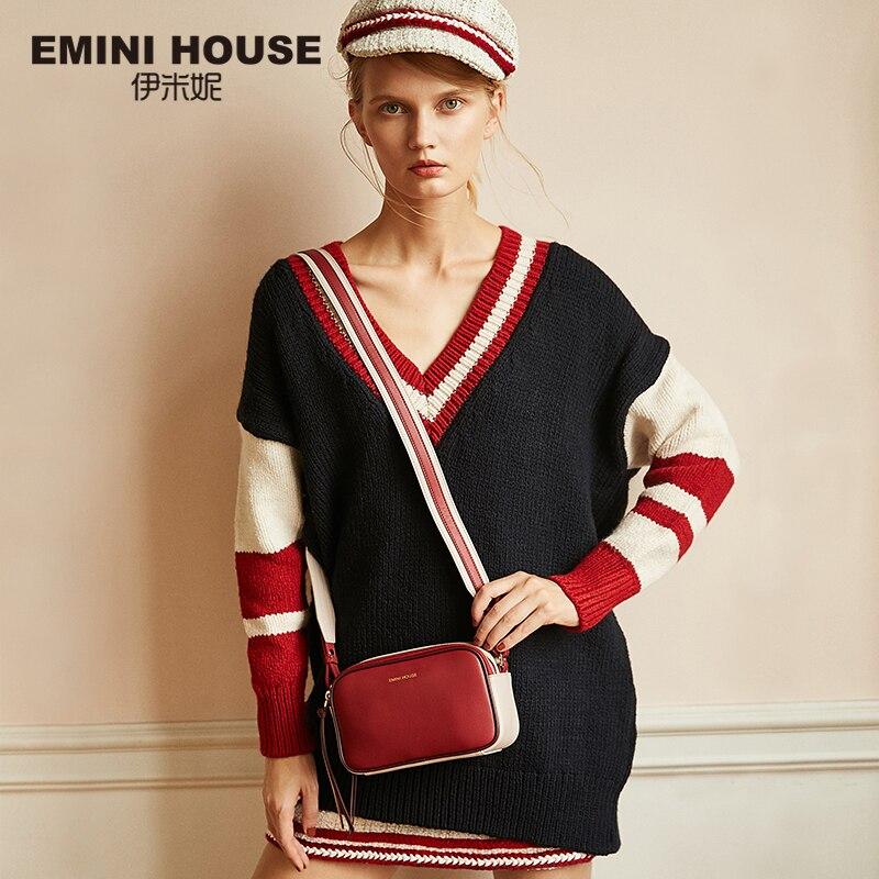 EMINI HOSUE Litchi Grain Crossbody Bags For Women 2018 Split Leather Women Messenger Shoulder Bag Female
