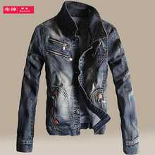 2016 Vintage Denim Jacket Mens Fall Fashion Men Slim Fit Jeans Jackets Man s Winter Casual