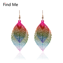 Find Me 2017 fashion Luxury boho Double color alloy Dangle earrings Vintage Leaves hollow out drop Earring for women Jewelry