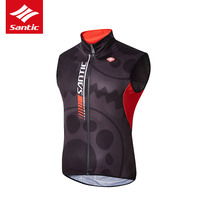 New Santic Men's Cycling Windproof Vest Reflective Sleeveless Bike Riding Vest Anti sweat Quik Dry Bicycle Sport Jersey for Man