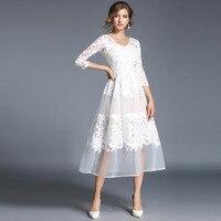 New Women Slim Lace Long Maxi Dress Spring Summer Elegant White Embroidery Dress Lady Wedding Party Dresses Vestidos