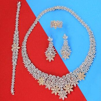 missvikki Full Shiny Flowers Crystal New Advanced Women Necklace/Earrings/Ring/Bracelet Jewelry Set for Bridal Wedding Party