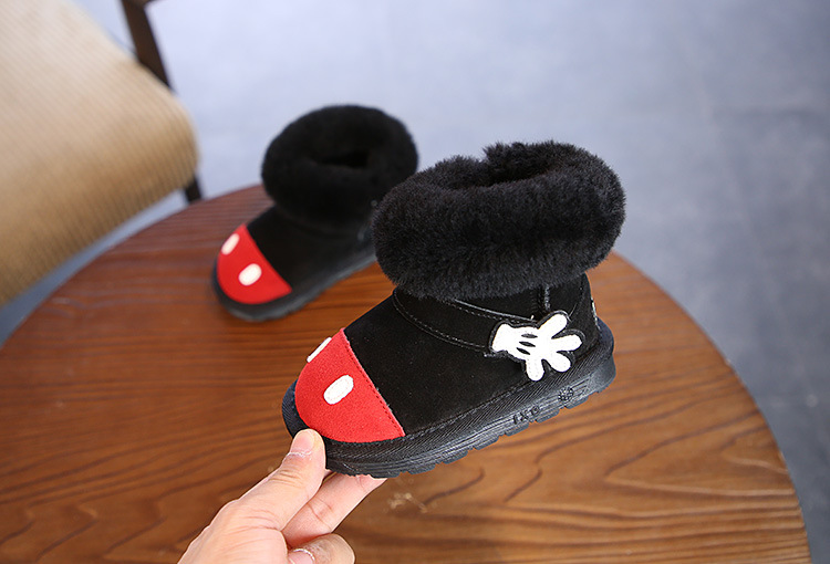 Leather children's boots winter new cartoon version of the rabbit hair thickened thermal anti-slip wear-resistant boys and girls