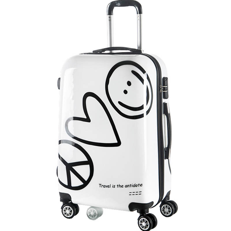 LeTrend Korean Cute Rolling Luggage Spinner Cartoon Password Suitcase Wheels 20 inch Women Carry on Trolley