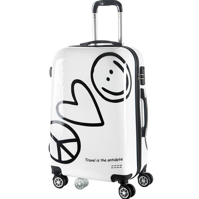 e35705ee977e LeTrend Korean Cute Rolling Luggage Spinner Cartoon Password Suitcase Wheels  20 inch Women Carry on Trolley Travel Bag Trunk
