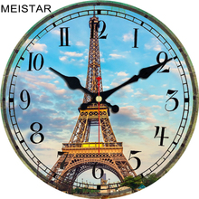 MEISTAR 2018 Vintage Tower Design Clock For Kitchen Home Office Cafe Wall Decor Silent Retro Clock Elegant Large Art Wall Clocks стоимость
