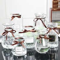 Glass vase simple creative ornaments living room European transparent flower arrangement flower dried flower container
