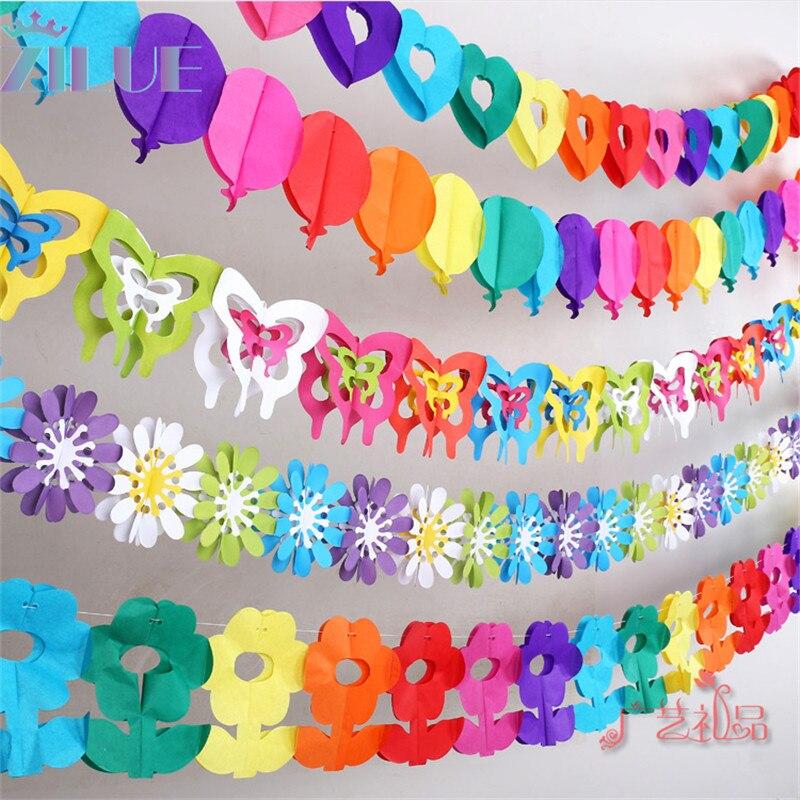 Zilue 1pc 생일 파티 배치 나비와 꽃 종이 갈 랜드 아기가 생일 파티 결혼식 장식을 보여줍니다