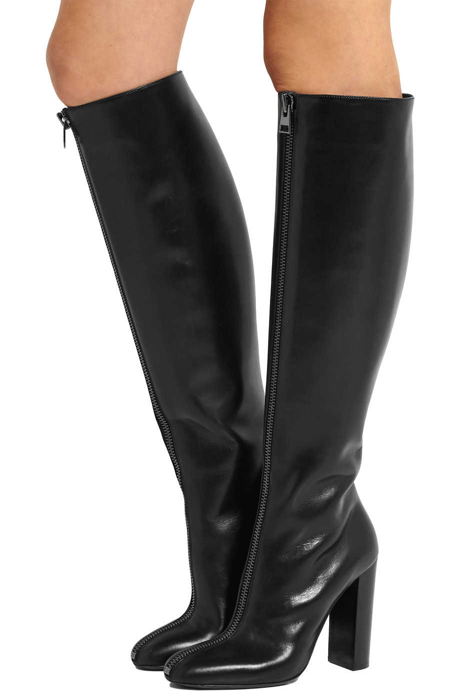 15d6cd047d4 2018 Women Black Knee High Boots Round Toe Chunky Heel Front Zipper High  Heel Stylish Long Boots Ladies Winter Shoes Plus Size
