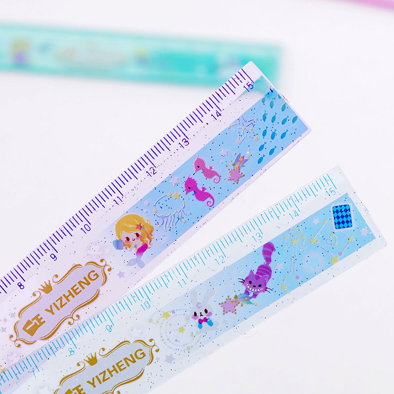 2Pcs/lot Kawaii Animal 15cm Transparent Star Crystal Plastic Rulers Drawing DIY Straight Rulers Stationery Gifts School Supplies