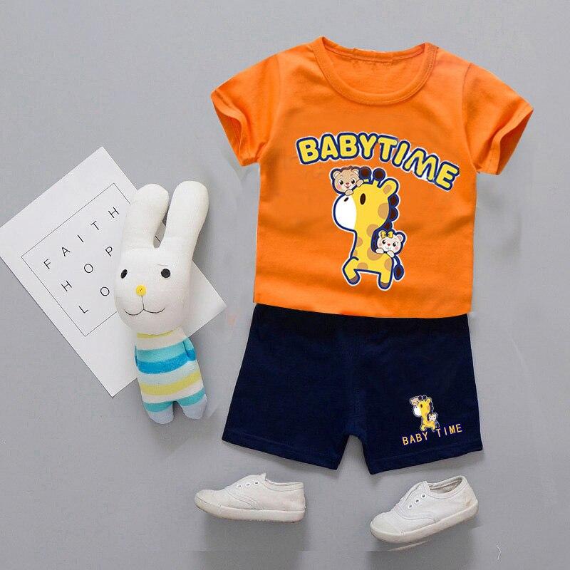 Детская летняя одежда наборы дети милый олень узоры слова Детское время костюм для мальчиков футболка + Штаны 2 шт./компл. одежда