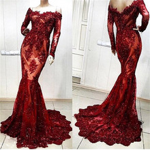 XGGandXRR Full Sleeve Mermaid Floor-Length Evening Dresses
