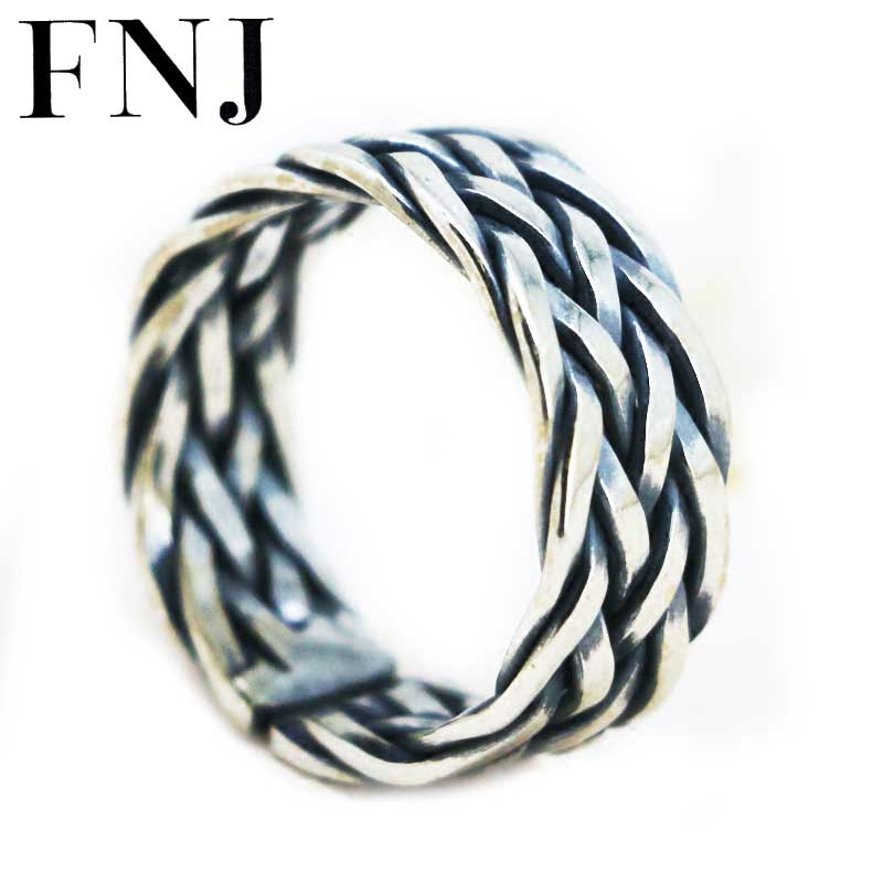 FNJ 925 Silver Rope Ring Lover's Original S925 Sterling Thai Silver Rings for Women Men Jewelry Adjustable Size USA 6-10 цена