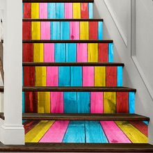 Colorful Wood Grain 3D Stairs Stickers Bedroom Living Room Skirting Self-adhesive Pegatinas De Pared Home Decor