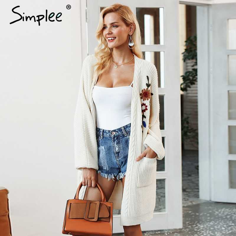 Simplee Embroidery flower knitted long cardigan female V neck casual pocket jumper 2018 Autumn winter women sweater cardigan