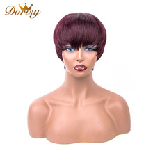 Short Human Hair Wigs Straight 99J Red Wine Color Brazilian For Women 4 inch Dorisy Non Remy