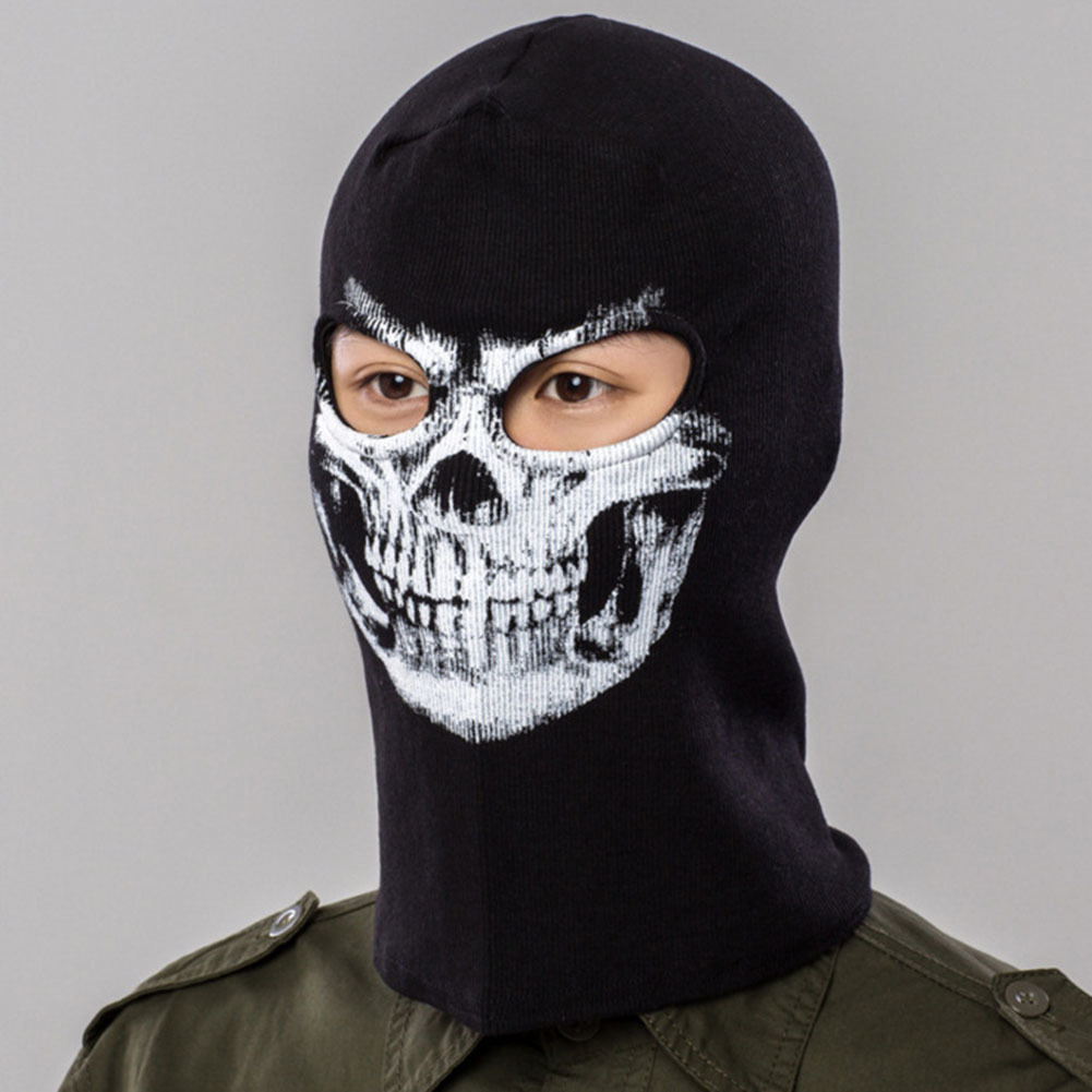 Breathable Windproof Skull Cycling Full Face Mask Sports Headgear Bike Bicycle Riding Hat Warm Head Scarf coolchange 20006 cycling thicken fleeces face mask hat scarf black