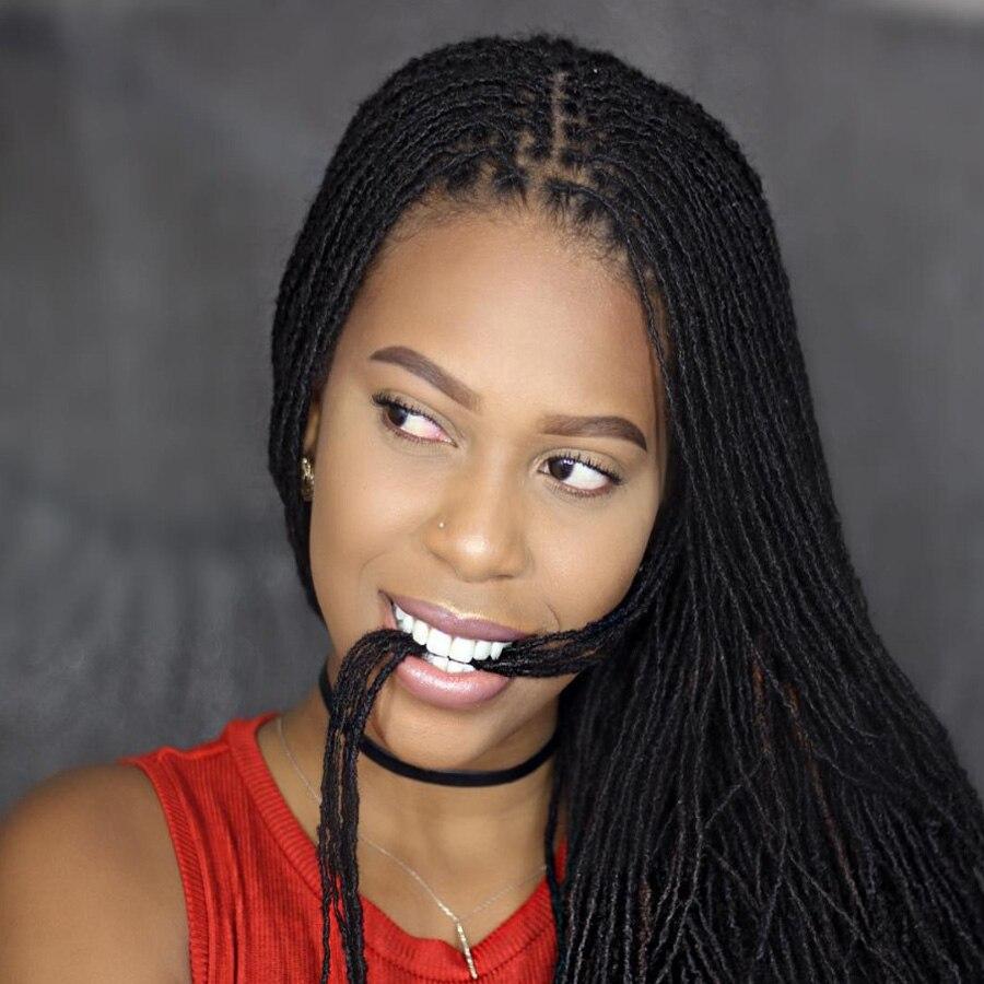 Leeons 6Pcs/Pack Long Curly Mini Locs Synthetic Braid Hair Extensions Kanekalon Popular Braids Styles Dreadlocks  For Women