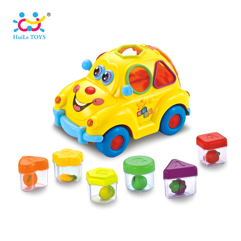 HUILE TOYS 516 Baby Toys Electronic Car with Music & Light & Puzzle & Fruit Shape Sorters Learning Educational Toys for Children