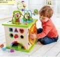 Educación temprana de los niños rompecabezas de la diversión cuentas grano redondo multi-funcional caja de los juguetes