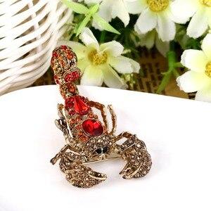 Image 3 - Tuliper брошь скорпион サソリのブローチ動物昆虫ピンラインストーンクリスタル錦織りファムパーティージュエリーギフトkpop
