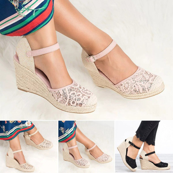 Platform Wedge Sandals Women Shoes 2019 Espadrille High Heels Bohemia Lace Wedding Shoes Ladie Sandals Plus Size 34-43 big toe sandal