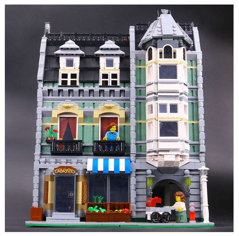 LEPIN 15008 2462Pcs Genuine New City Street Green Grocer Model Building Kit Blocks Bricks Funny Toy Gift Compatible Gift 10185 lepin 15009 city street pet shop model building kid blocks bricks assembling toys compatible 10218 educational toy funny gift